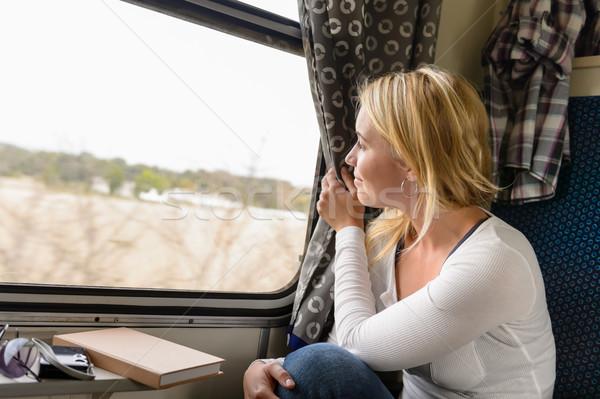 女性 列車 見える 外に ウィンドウ ストックフォト © CandyboxPhoto
