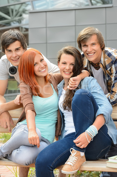 Cheerful friends hanging out by college campus Stock photo © CandyboxPhoto