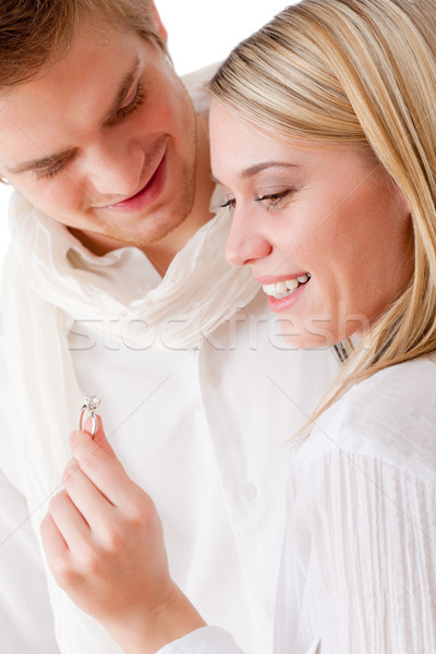Couple in love - getting engagement ring Stock photo © CandyboxPhoto