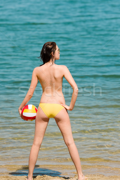 Lata plaży kobieta cieszyć się słońce utrzymać Zdjęcia stock © CandyboxPhoto