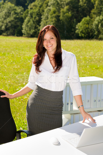 Stock photo: Businesswoman in sunny nature office smile