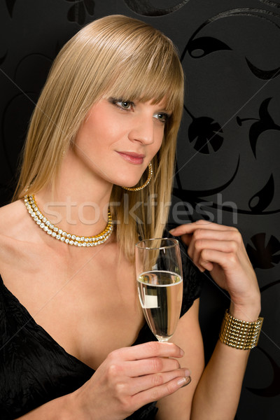 Glamorous blond woman party dress drink champagne Stock photo © CandyboxPhoto