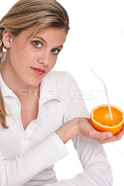 Femme orange blanche fille Photo stock © CandyboxPhoto