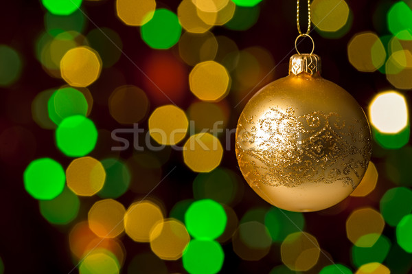 Christmas ball hanging defocused sparkling lights Stock photo © CandyboxPhoto