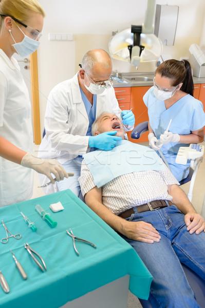 Idős férfi fogorvos műtét operáció fog Stock fotó © CandyboxPhoto