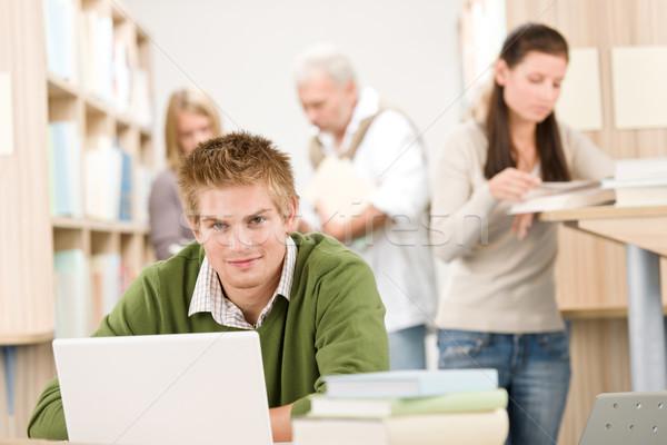 школу библиотека студент книга ноутбука интернет Сток-фото © CandyboxPhoto