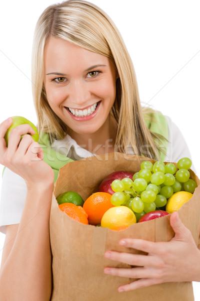 Stock fotó: Egészséges · életmód · derűs · nő · gyümölcs · bevásárlószatyor · vásárlás
