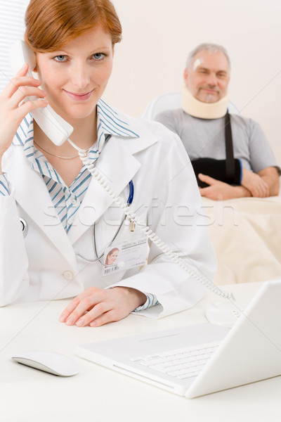 Doctor office - female physician use phone Stock photo © CandyboxPhoto