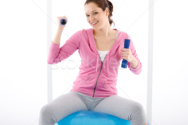 Fitness woman exercise dumbbell ball gym Stock photo © CandyboxPhoto