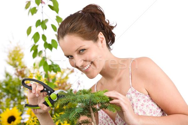 Stockfoto: Tuinieren · vrouw · boom · glimlachende · vrouw · bloem