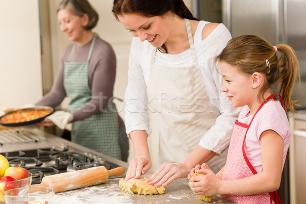 3 generations of women baking apple pies Stock photo © CandyboxPhoto
