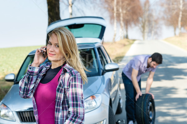 Car wheel defect man change puncture tire Stock photo © CandyboxPhoto
