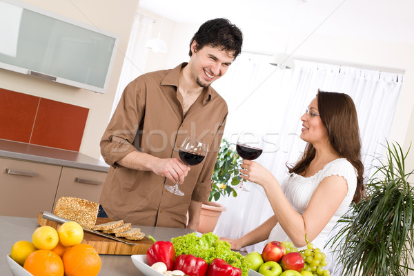 Stok fotoğraf: Mutlu · çift · içmek · modern · mutfak