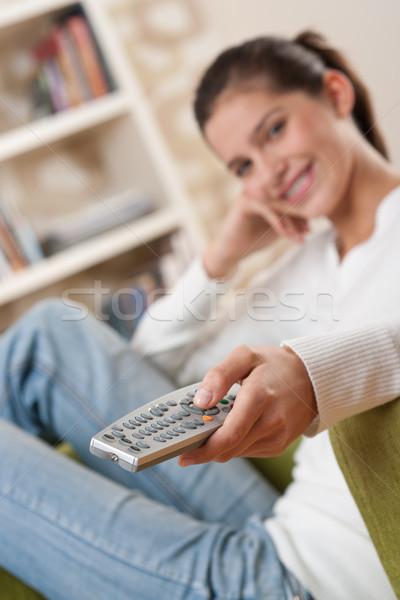Studenten glimlachend vrouwelijke tiener woonkamer Stockfoto © CandyboxPhoto