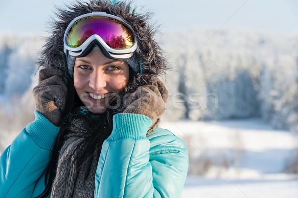 Fiatal nő szürke szőr hó tél portré Stock fotó © CandyboxPhoto