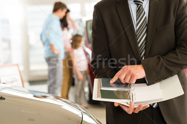 Car salesman's hands holding color swatches Stock photo © CandyboxPhoto