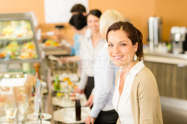 Business woman take cafeteria lunch smiling Stock photo © CandyboxPhoto