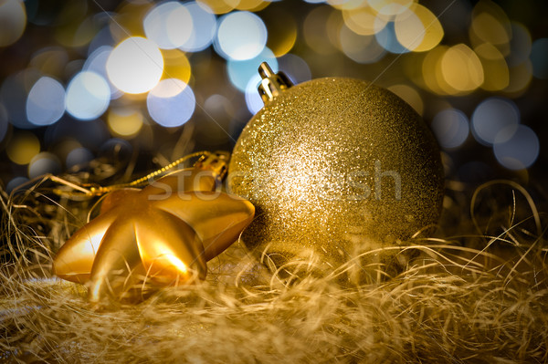 Gold christmas bauble and star decoration Stock photo © CandyboxPhoto