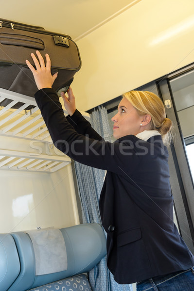 Woman putting her baggage on train grid Stock photo © CandyboxPhoto