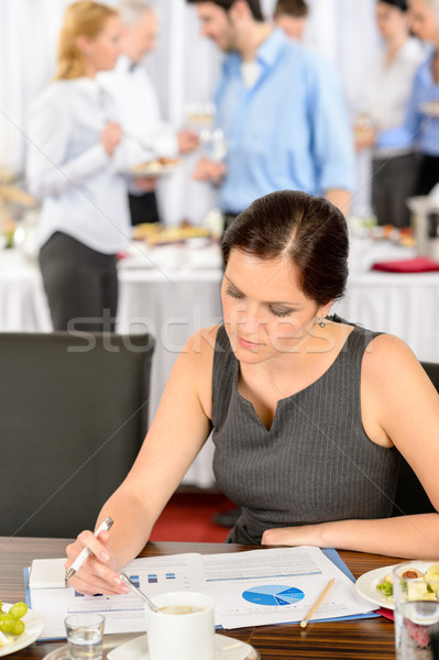 Mulher de negócios trabalhar catering bufê companhia conferência Foto stock © CandyboxPhoto