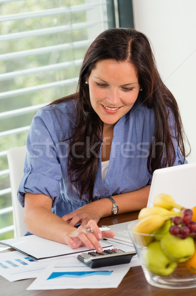 Happy woman student studying exam university library Stock photo © CandyboxPhoto