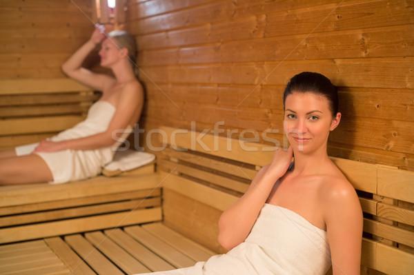 Mulher relaxante sauna amigo beleza retrato Foto stock © CandyboxPhoto