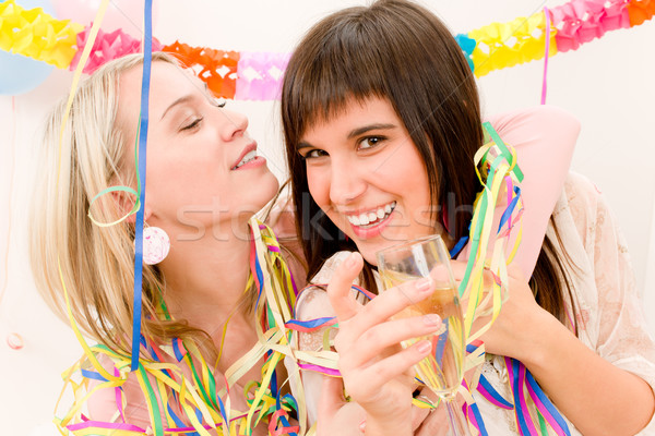 Birthday party celebration - two woman with confetti have fun Stock photo © CandyboxPhoto