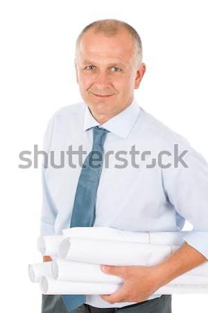 Foto stock: Senior · profissional · arquiteto · masculino · manter · blueprints