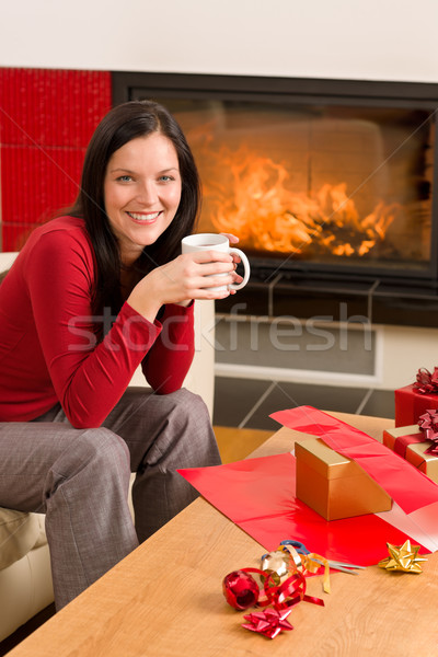 Christmas present wrap woman drink home fireplace Stock photo © CandyboxPhoto