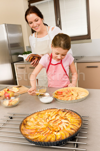 Mother and daughter make apple pie recipe Stock photo © CandyboxPhoto