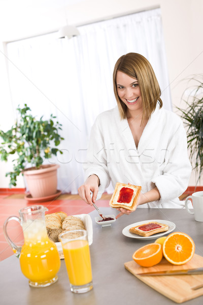 Breakfast - Happy woman with toast and marmalade  Stock photo © CandyboxPhoto