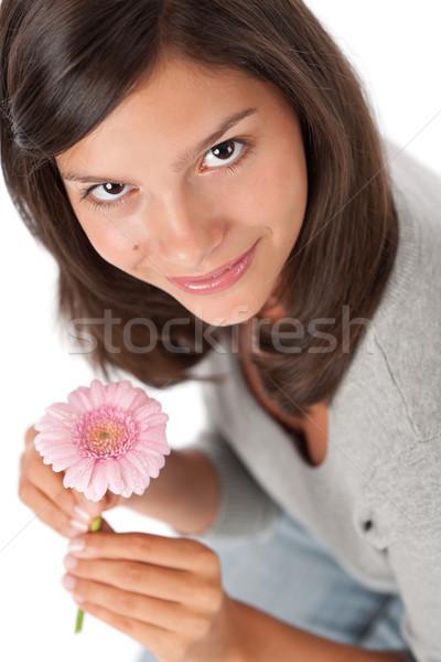 Teenager holding gerbera daisy Stock photo © CandyboxPhoto