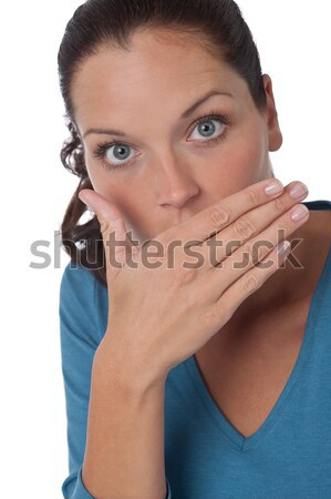 Brown hair woman blowing a kiss Stock photo © CandyboxPhoto