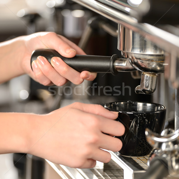 Close up making coffee cappuccino with machine Stock photo © CandyboxPhoto