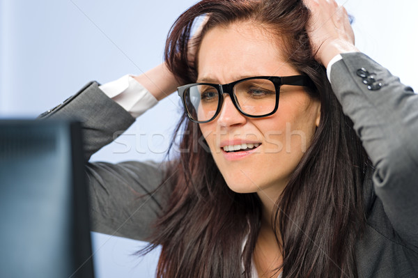 Stressed businesswoman overcharged with work Stock photo © CandyboxPhoto