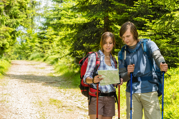 Young trekking couple checking the map Stock photo © CandyboxPhoto