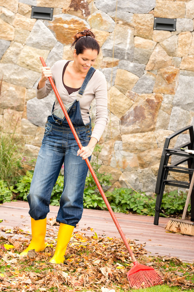 Smiling woman sweeping leaves fall housework garden Stock photo © CandyboxPhoto