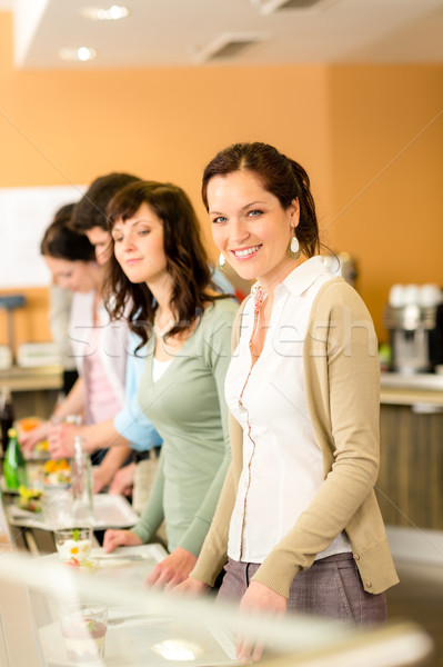 Zakenvrouw cafetaria lunch glimlachend Stockfoto © CandyboxPhoto