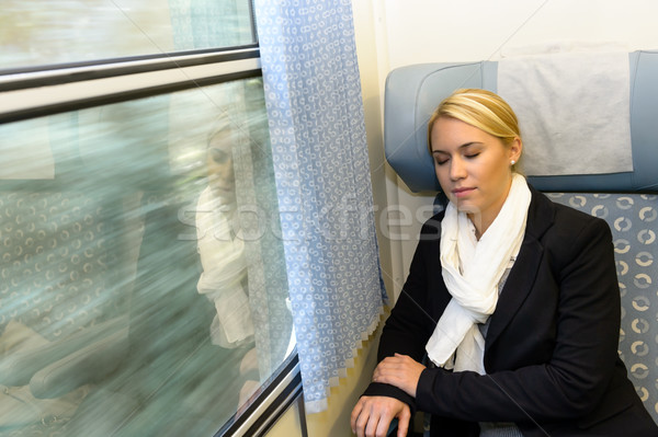 Woman sleeping in train compartment tired resting Stock photo © CandyboxPhoto