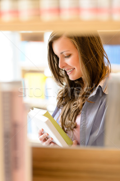 High school library student woman read book Stock photo © CandyboxPhoto