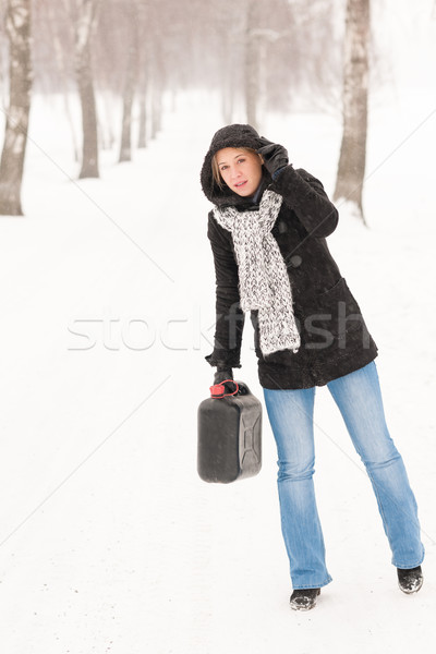 Woman holding gas can winter car trouble Stock photo © CandyboxPhoto