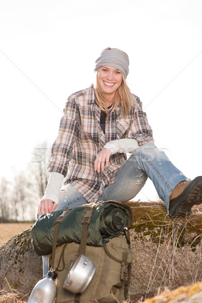Camping young woman in countryside backpack relax Stock photo © CandyboxPhoto