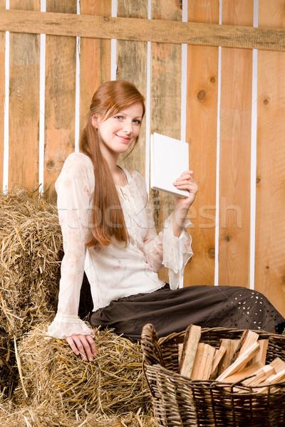 小さな ロマンチックな 女性 を読む 図書 納屋 ストックフォト © CandyboxPhoto