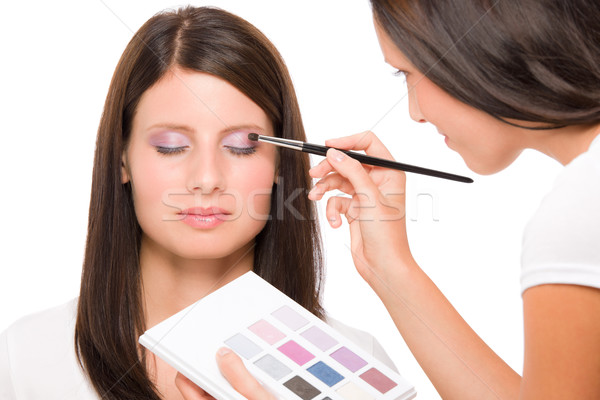 Make-up artist woman fashion model apply eyeshadow Stock photo © CandyboxPhoto