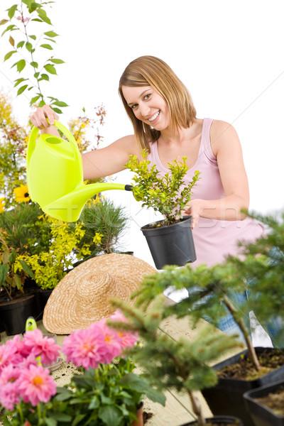 Stockfoto: Tuinieren · vrouw · water · plant · gieter