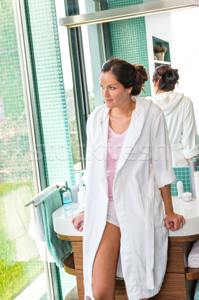 Woman leaning basin bathrobe bathroom thinking morning Stock photo © CandyboxPhoto