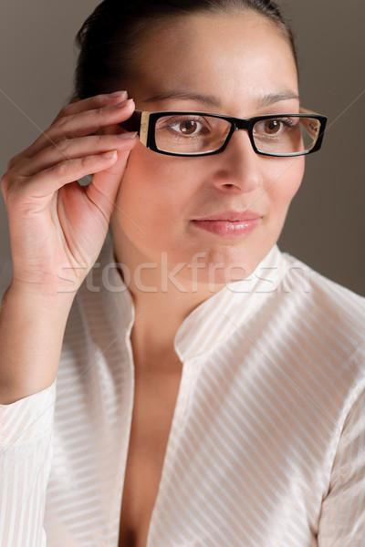 Сток-фото: дизайнера · очки · успешный · деловая · женщина · портрет · моде