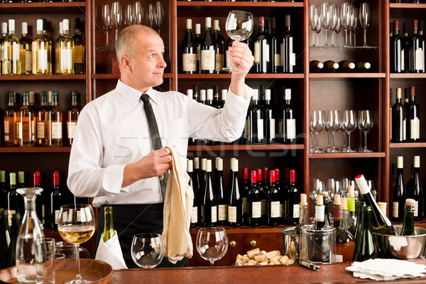 Wine bar waiter clean glass in restaurant Stock photo © CandyboxPhoto