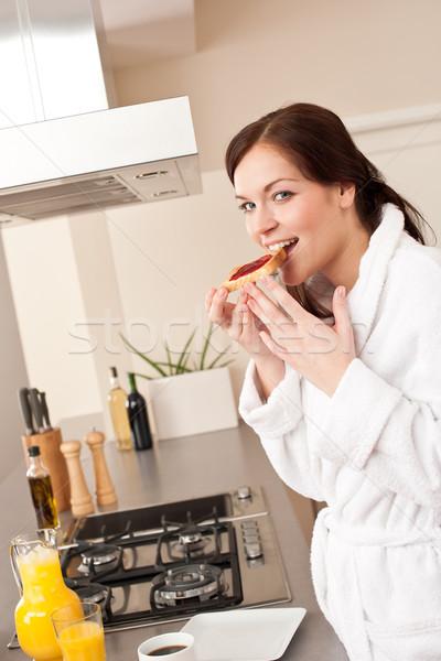 Foto stock: Comer · brindis · desayuno · cocina · albornoz