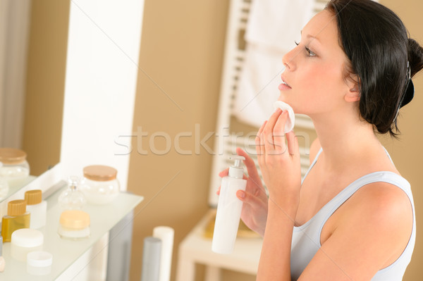Young woman bathroom clean face make-up removal Stock photo © CandyboxPhoto